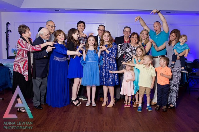 Professional picture of my family at my youngest sibling's bat mitzvah in 2017