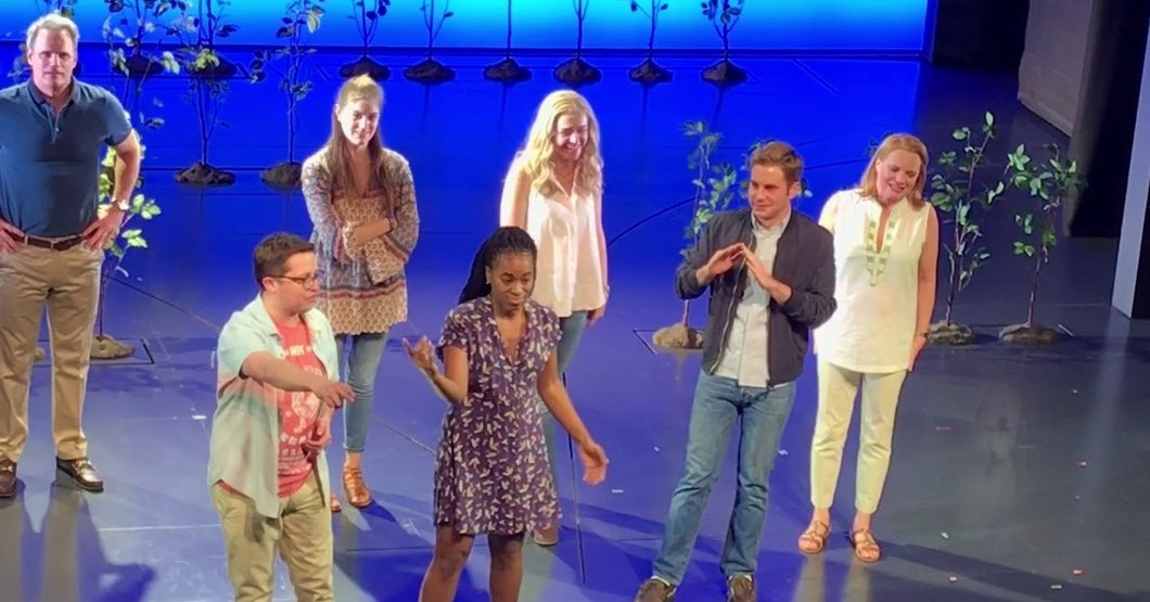 The original Broadway cast of Dear Evan Hansen doing their final bows at the end of the show