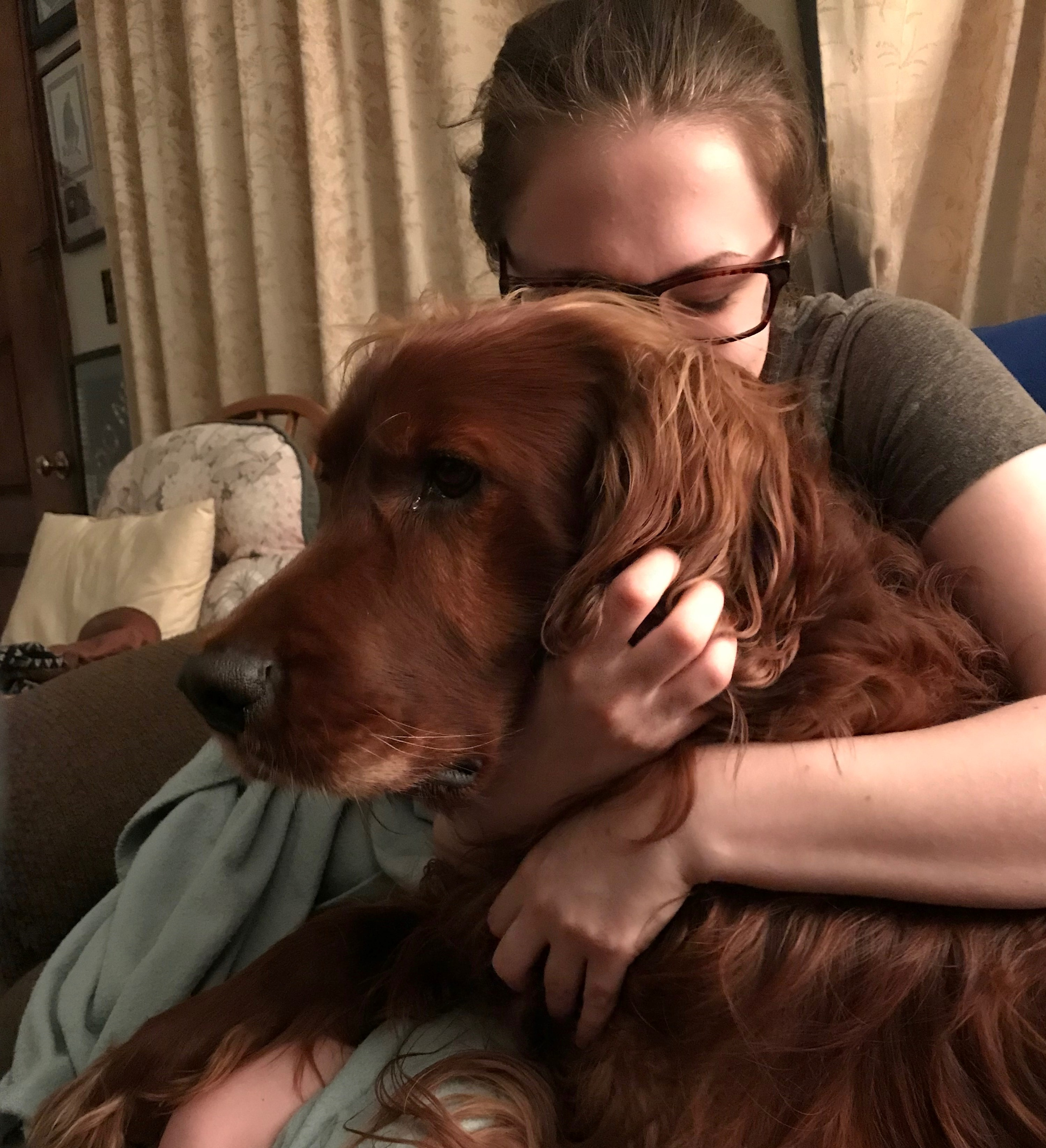 Me hugging Jazz, my boyfriend's 90-some pound Irish setter, as he sits with the front half of his body on my lap