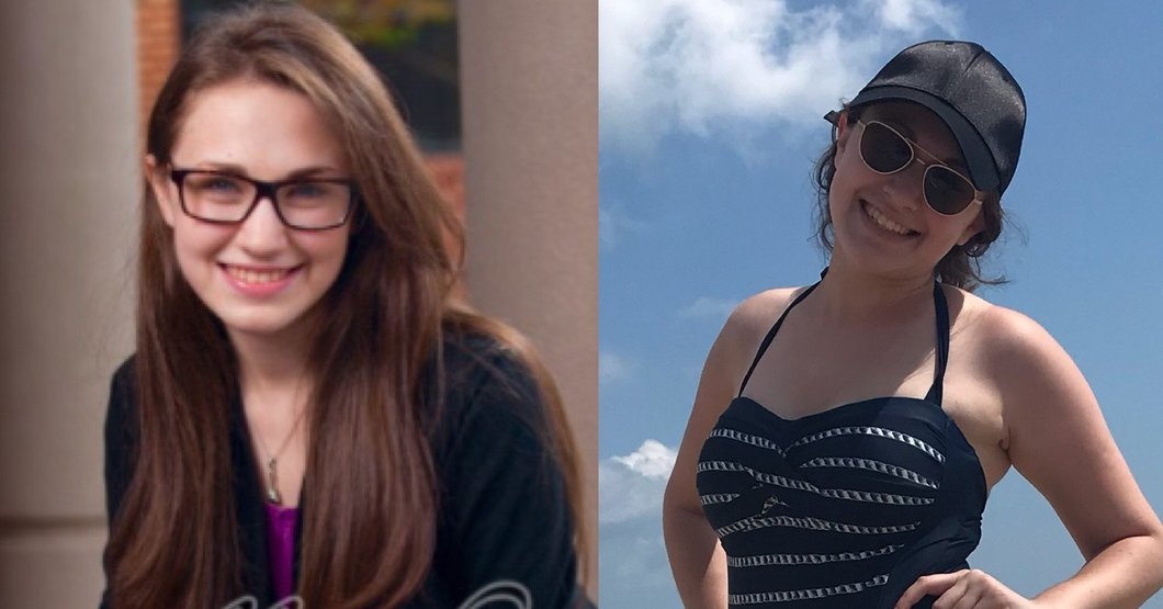A side-by-side picture of me in 2014, awkwardly posing for the camera in my high school senior picture, next to a picture of me in 2018 at Ocean City, wearing a one-piece bathing suit and smiling