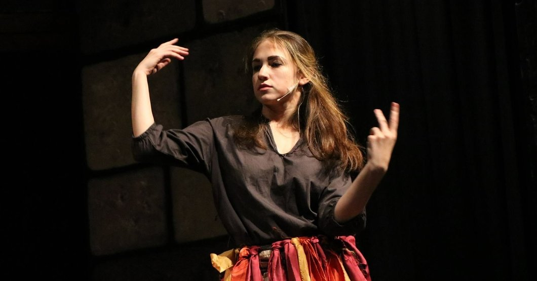 """Me dancing on a stage in a community theater production of """"Man of La Mancha"""""""