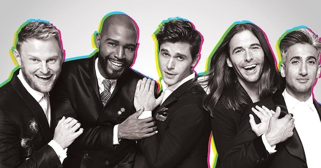 The cast of Netflix's Queer Eye revival. From left to right: Bobby Berk, Karamo Brown, Antoni Porowski, Jonathan Van Ness, and Tan France