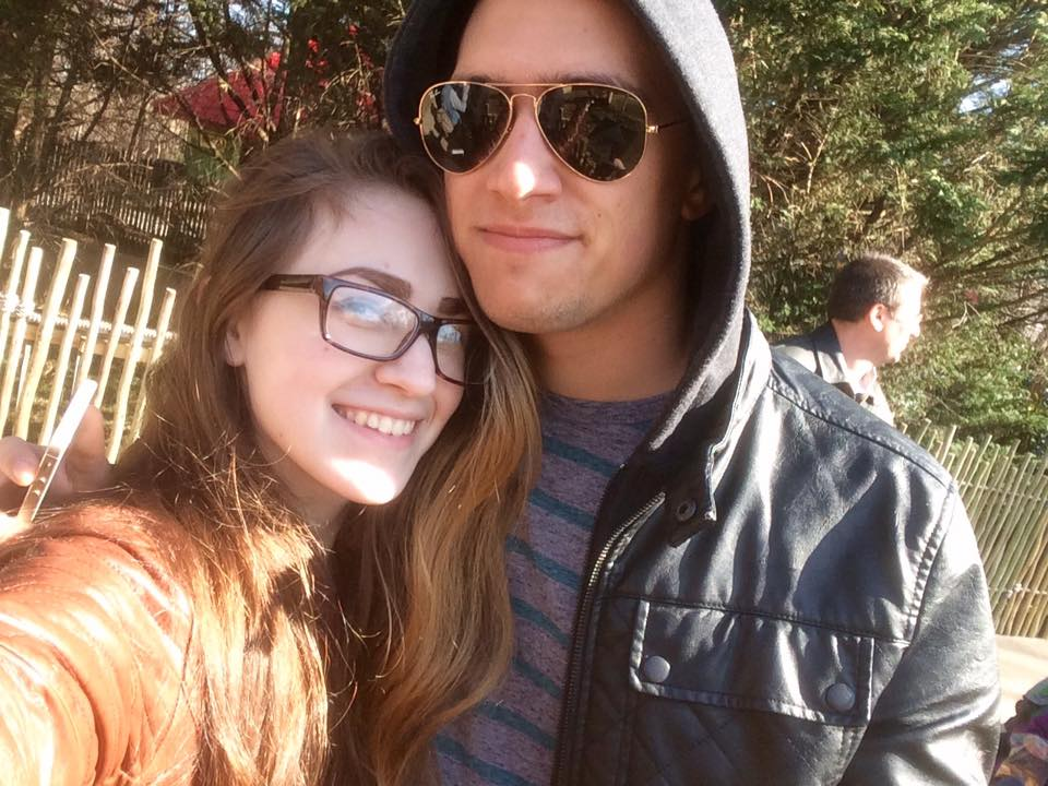 Selfie of me and my boyfriend at the Maryland Zoo, waiting in line for the giraffe enclosure