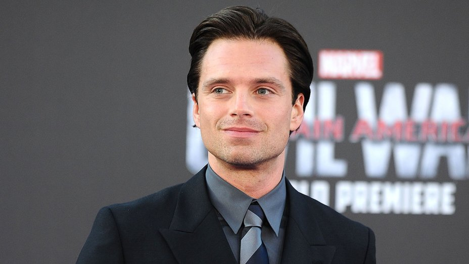 Shoulder and head shot of Sebastian Stan at the Captain America: Civil War movie premiere
