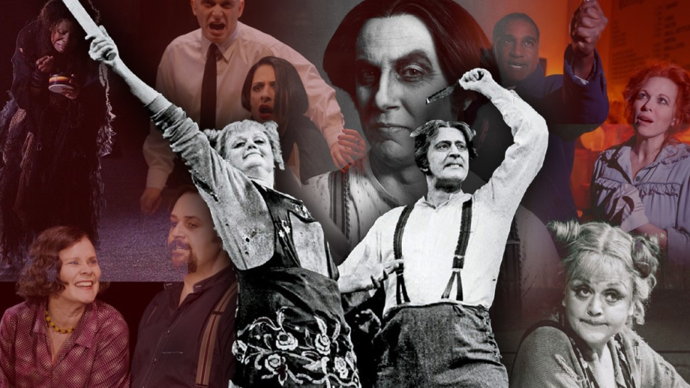 "Collection of pictures of the original Broadway cast of Sweeney Todd behind a black-and-white ""cutout"" in the forefront of Angela Lansbury and Len Cariou as Mrs. Lovett and Sweeney Todd"