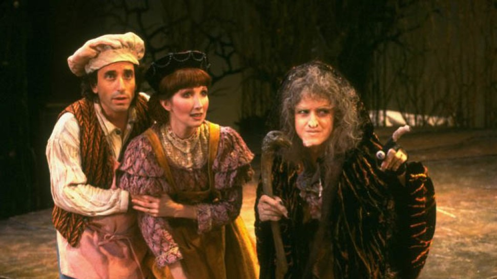 Pro shot of The Baker (Chip Zien), The Baker's Wife (Joanna Gleason), and The Witch (Bernadette Peters) from the original Broadway production of Into the Woods