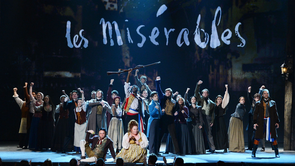 The entire ensemble of Les Miserables at the 2014 Tony Awards