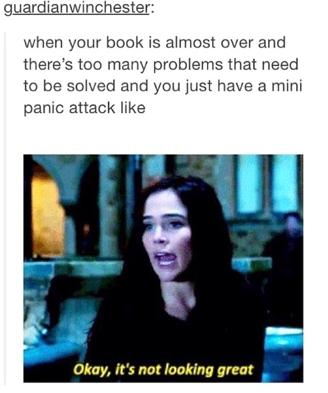 "Tumblr post reading: ""when your book is almost over and there's too many problems that need to be solved and you just have a mini panic attack like"" and an image of a woman saying ""Okay, it's not looking great"""