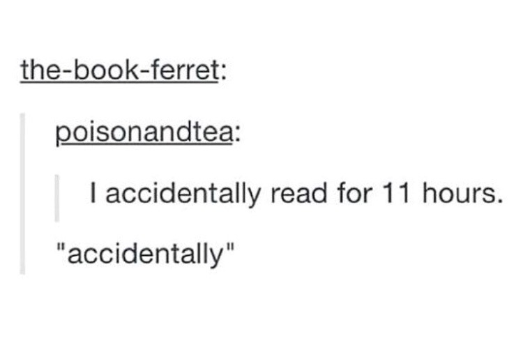 "Tumblr post reading: (User 1:) I accidentally read for 11 hours. (User 2:) ""accidentally"""