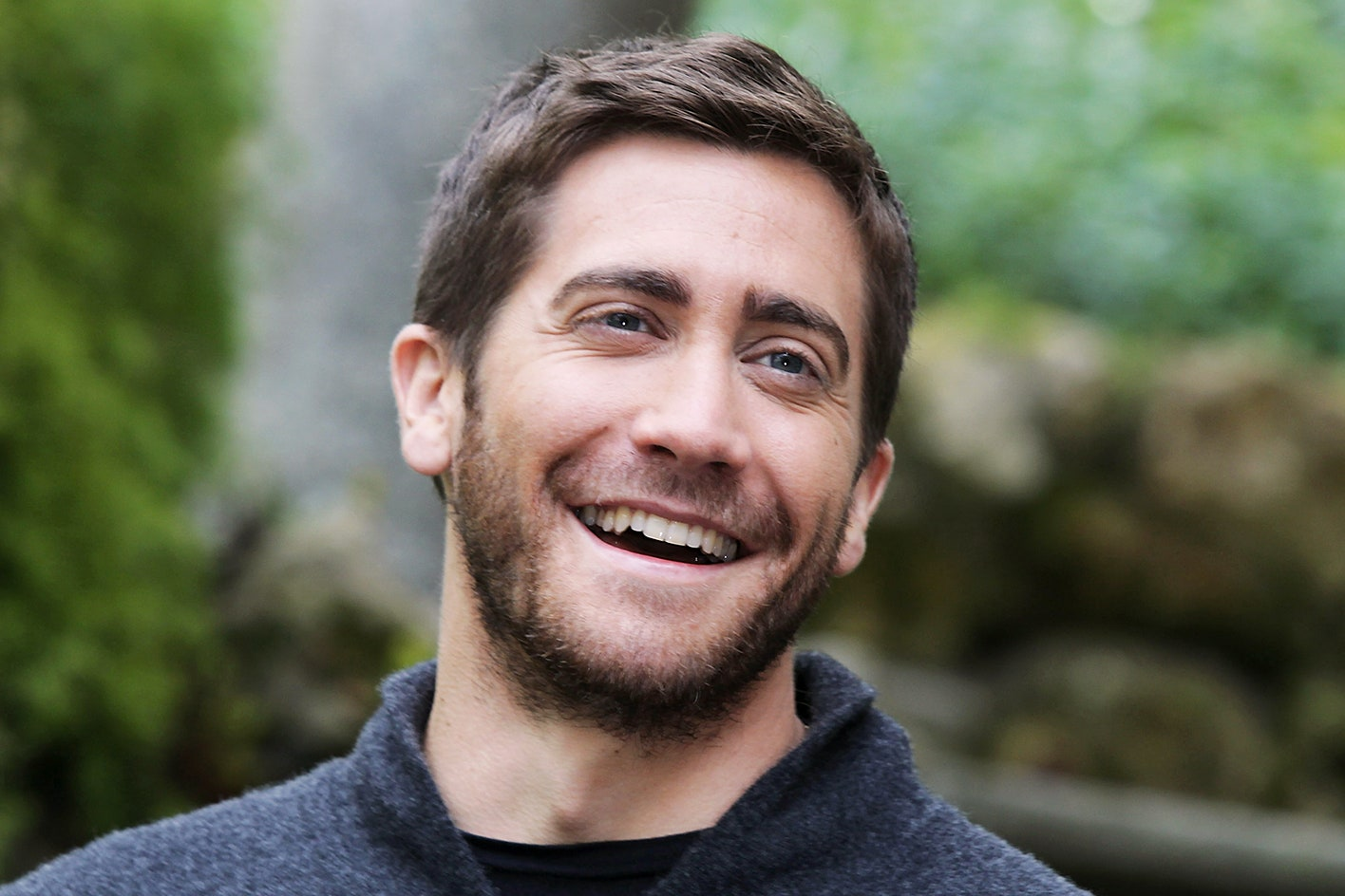 Actor Jake Gyllenhaal laughing for the camera